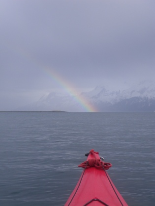 Rainbow in front of the Chugach Mountains