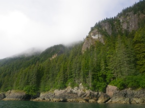 The rugged coastline of the south side of Glacier Island