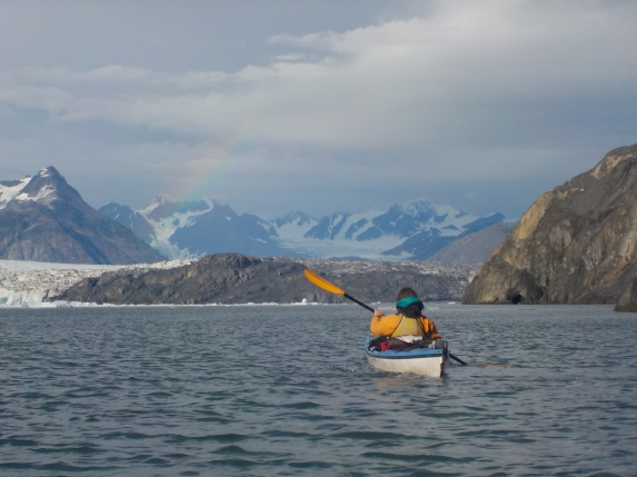 Paddling to the face of Columbia Glacier