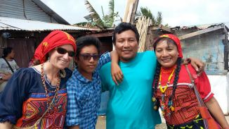 Dibi, Diguar, Iguandili, and I celebrating the Guna Revolution on Gardi