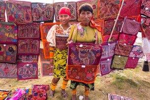 Beautiful Guna women display molas