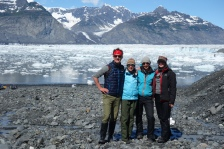 Posing in front of Columbia Glacier