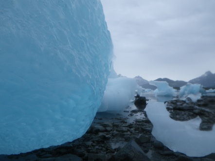 Ice on the moraine at Columbia Glacier