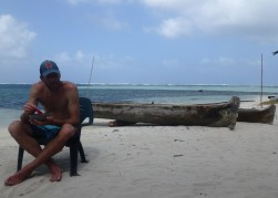 """Jeff enjoying """"Dule Masi"""", traditional Guna fish stew"""