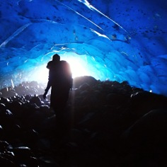Gettin' into it underneath the Root Glacier, Wrangell-St. Elias National Park