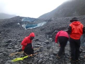 Practicing crevasse rescue on the Valdez Glacier