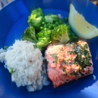 Dinner: Fresh salmon with a tarragon lemon butter sauce