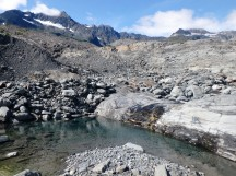 Exploring the moraine at Shoup Glacier