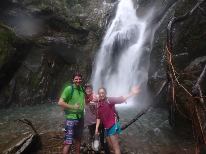 Guided by a local, friends and I on a waterfall hike outside Santa Fe, Panama