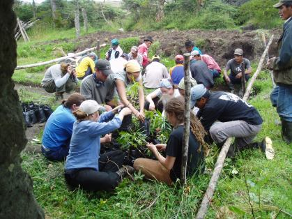 Helping in the garden, Ecuador, 2004