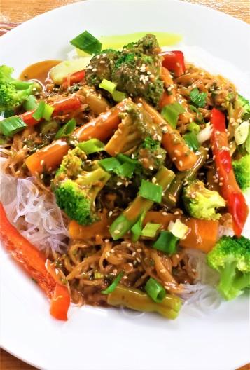 Asian stir fry with mung bean noodles