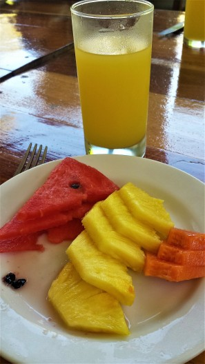 Fresh fruit and juice after morning yoga
