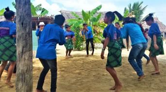 Youth dancers performing the Guna Danza