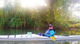 Meghan enjoying a river paddle