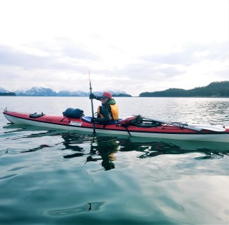 Miki enjoying an afternoon paddle, Prince William Sound