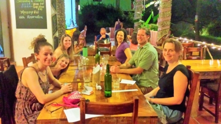 Dinner with new friends, Yoga Retreat, Panama