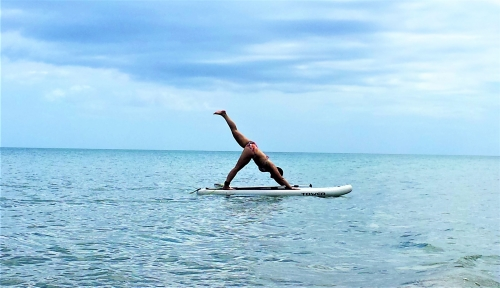 SUP yoga in the Pacific, Panama