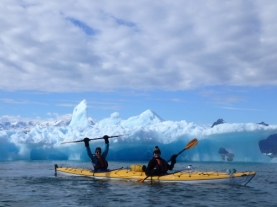 Paddles in the air, Columbia Bay, Prince William Sound
