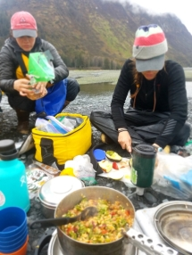 Learning backcountry cooking, yum:)