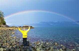 Morning rainbow, Heather Bay