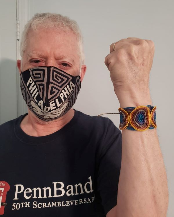 My dad sporting his custom Philadelphia mask and bracelet:)